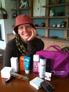 Pascale et ses produits offerts pour sa beauté post cancer